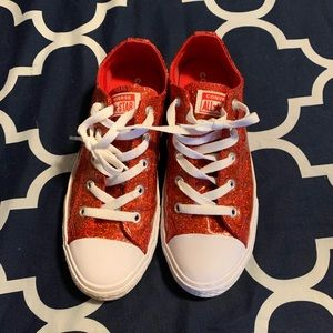 Red glitter converse shoes